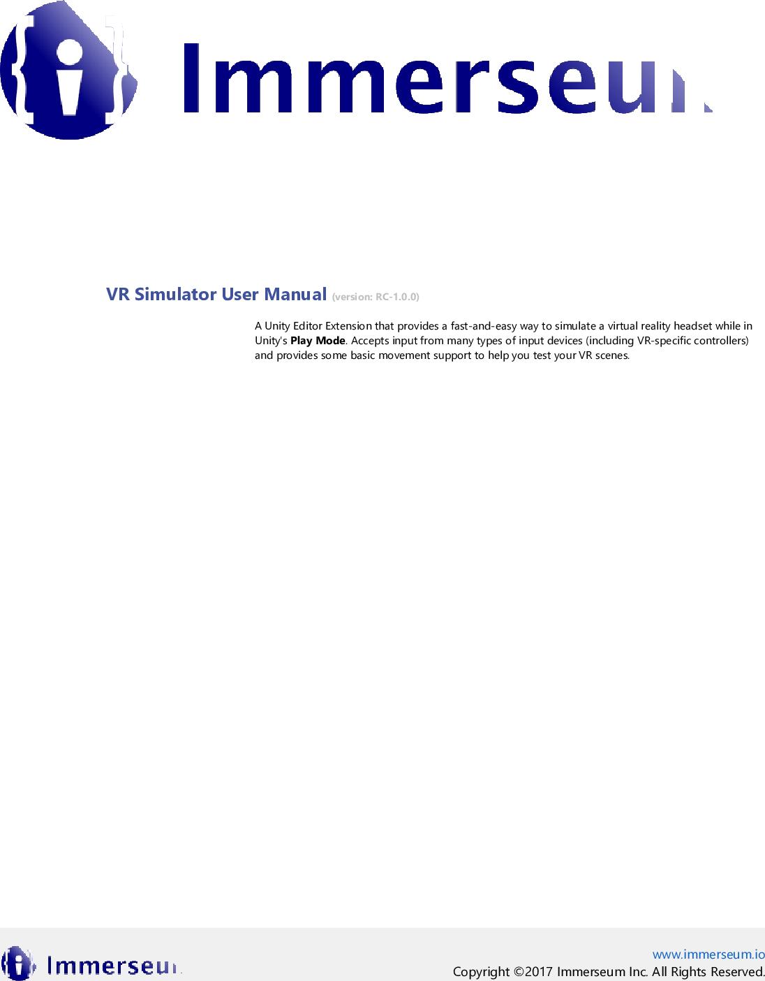ImmerseumSDK: VR Simulator User Manual