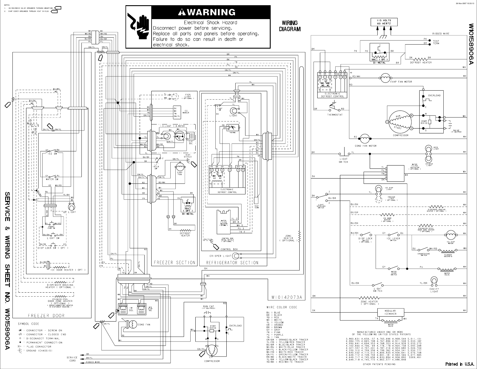 Lit Service And Wiring Sheet W10158906 Whirlpool Refrig Ed2kvexvl01