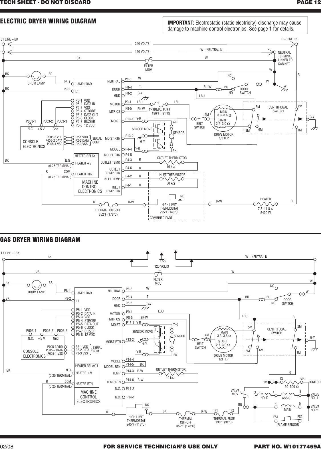 Zb80281 W10177459avp W10177459a Whirlpool Duet Sport Dryer Tech Sheet Gas Wiring Diagram Page 12 Of