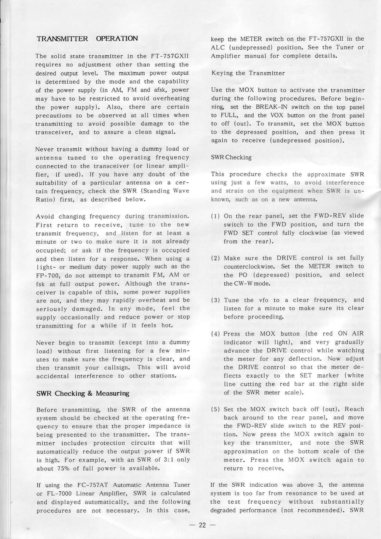 Yaesu FT 757 GX II User 757GXII Manual