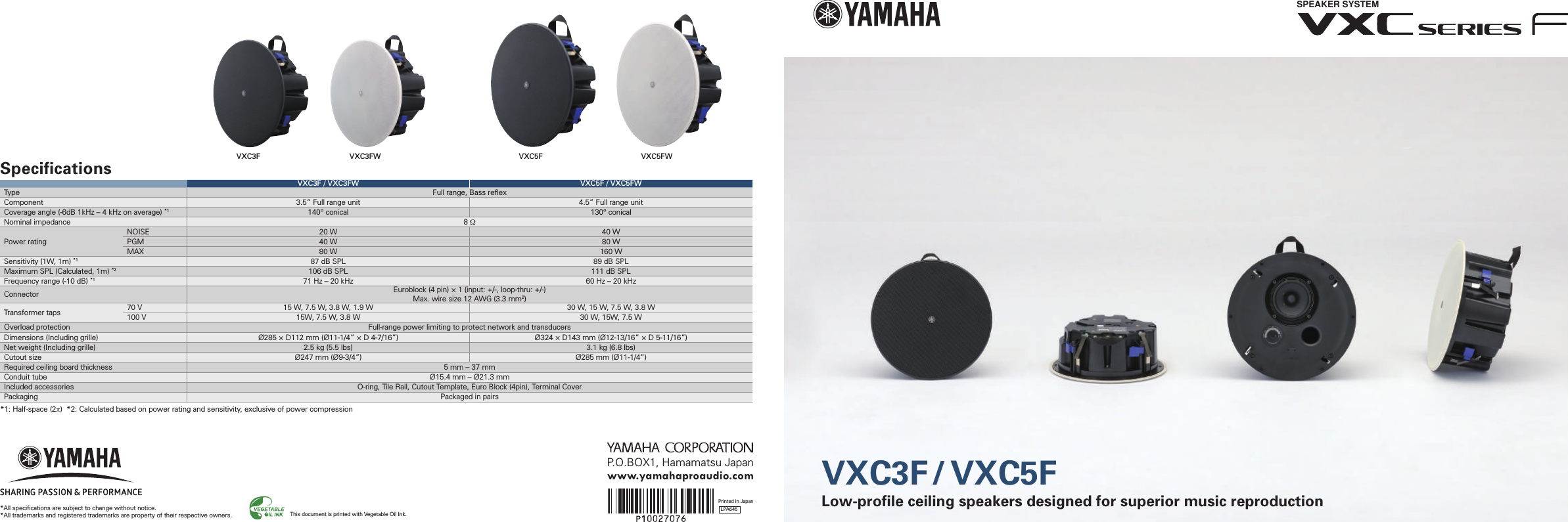 Yamvxc3fw Yamaha Speaker System Vxc Series F User Manual Yam Wiring Diagram