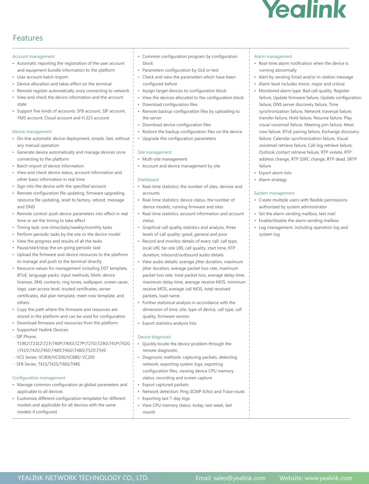 Yealink Device Management Platform (on premise) Datasheet