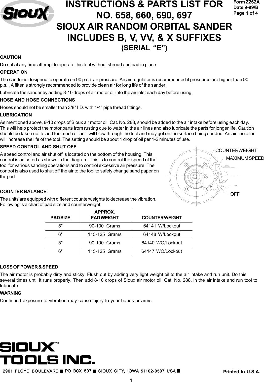 "Sioux 585V Vac Sanding Pad 5/"""