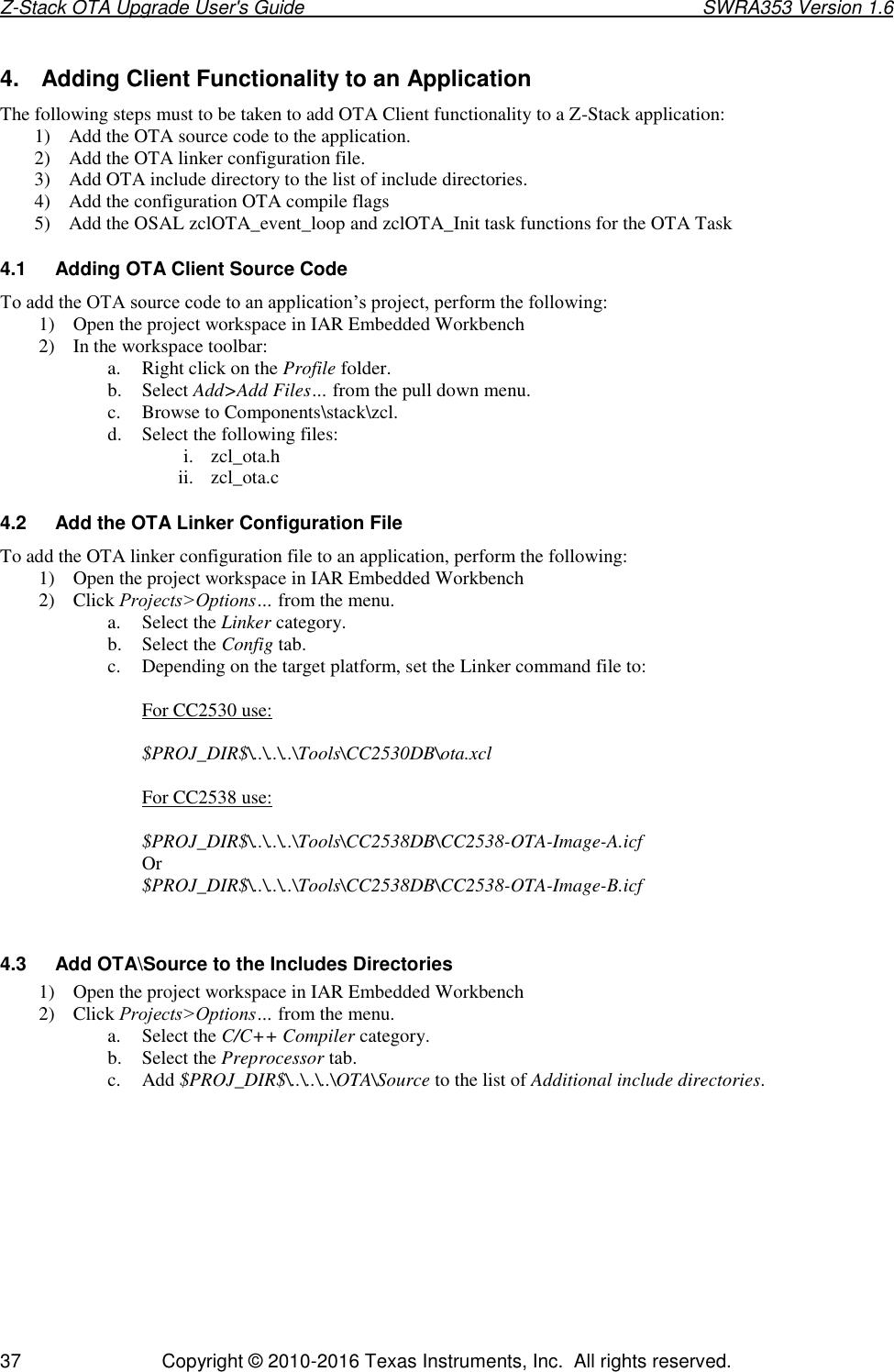 Z Stack OTA Upgrade User's Guide
