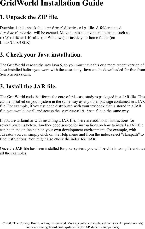 GridWorld Installation Guide Ap07