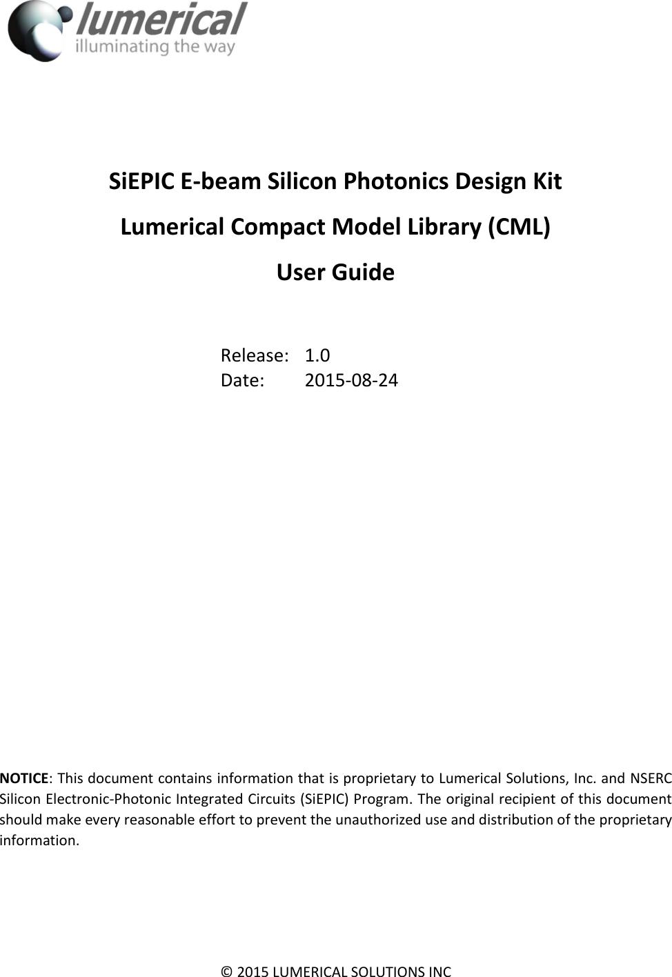 Ebeam Lumerical CML User Guide 2015 08 24