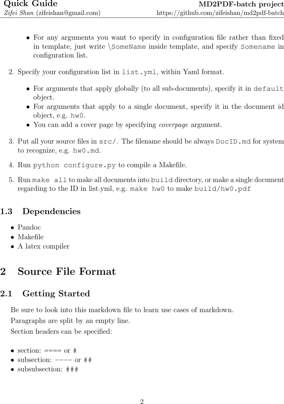 MD2PDF Guide