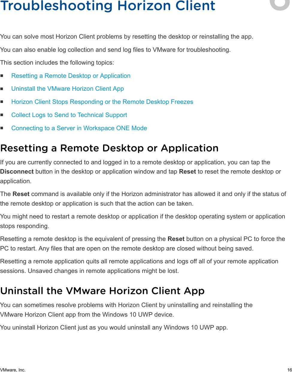 VMware Horizon Client For Windows 10 UWP User Guide 10  4 6