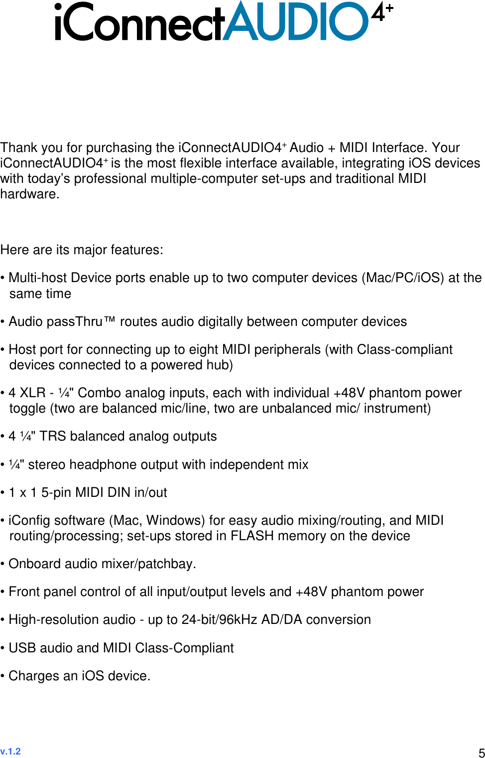 I Connectivity Connect AUDIO4+ Owner's Manual (Version 1 2