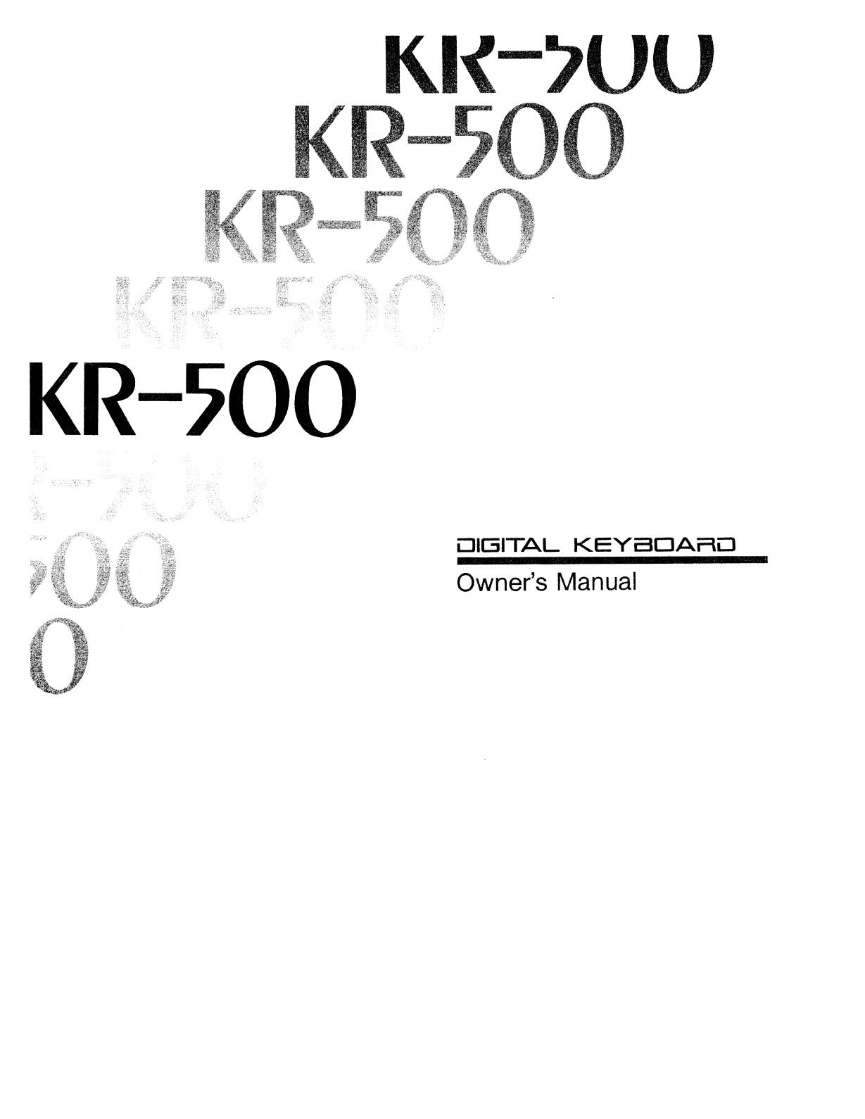 Roland Corporation KR 500 Owner's Manual Om