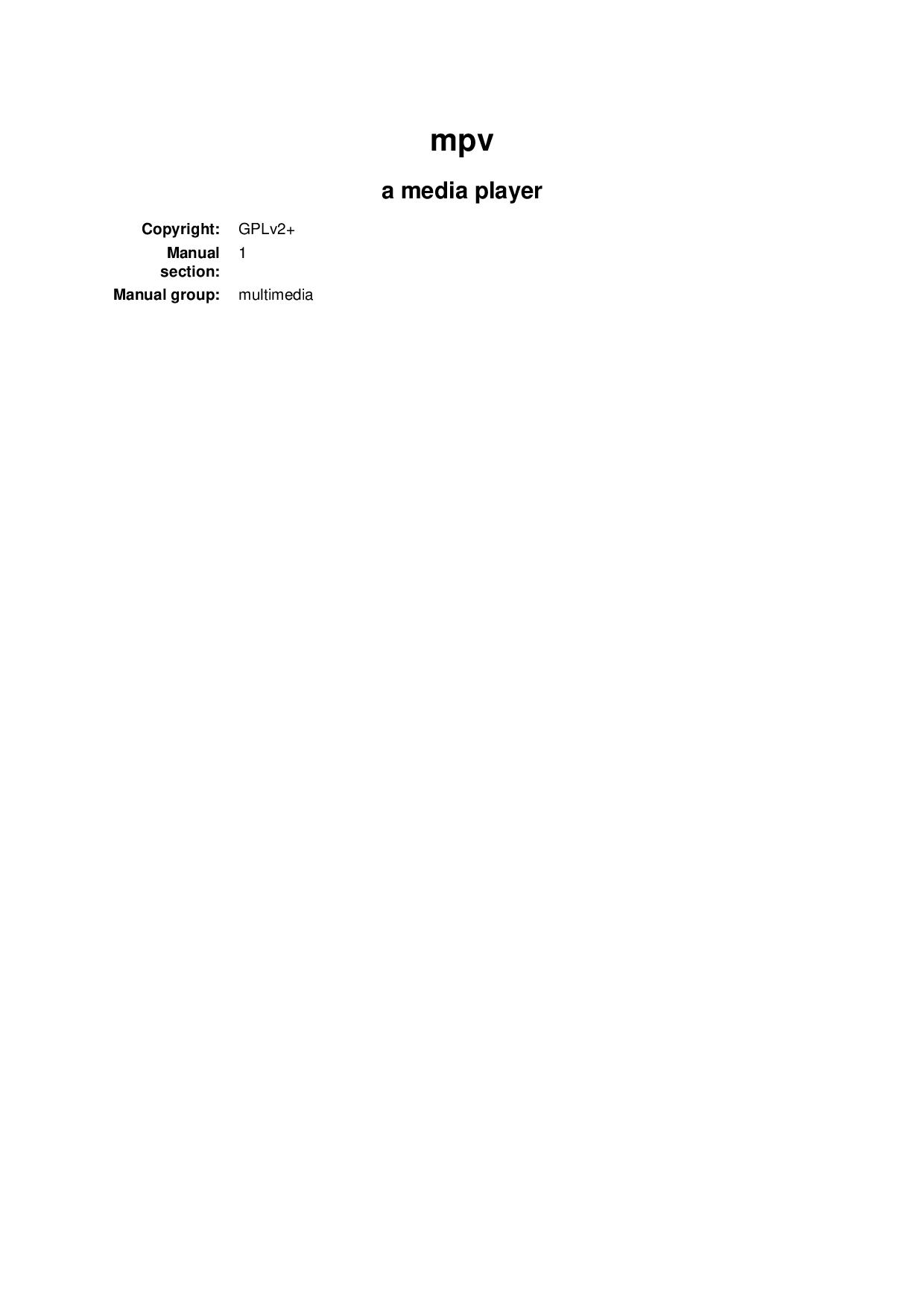 Mpv Manual