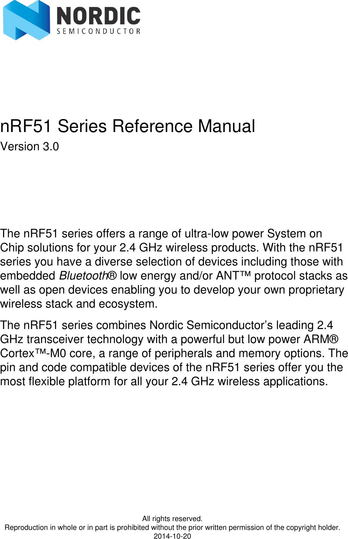 NRF51 Series Reference Manual N RF51 V3 0