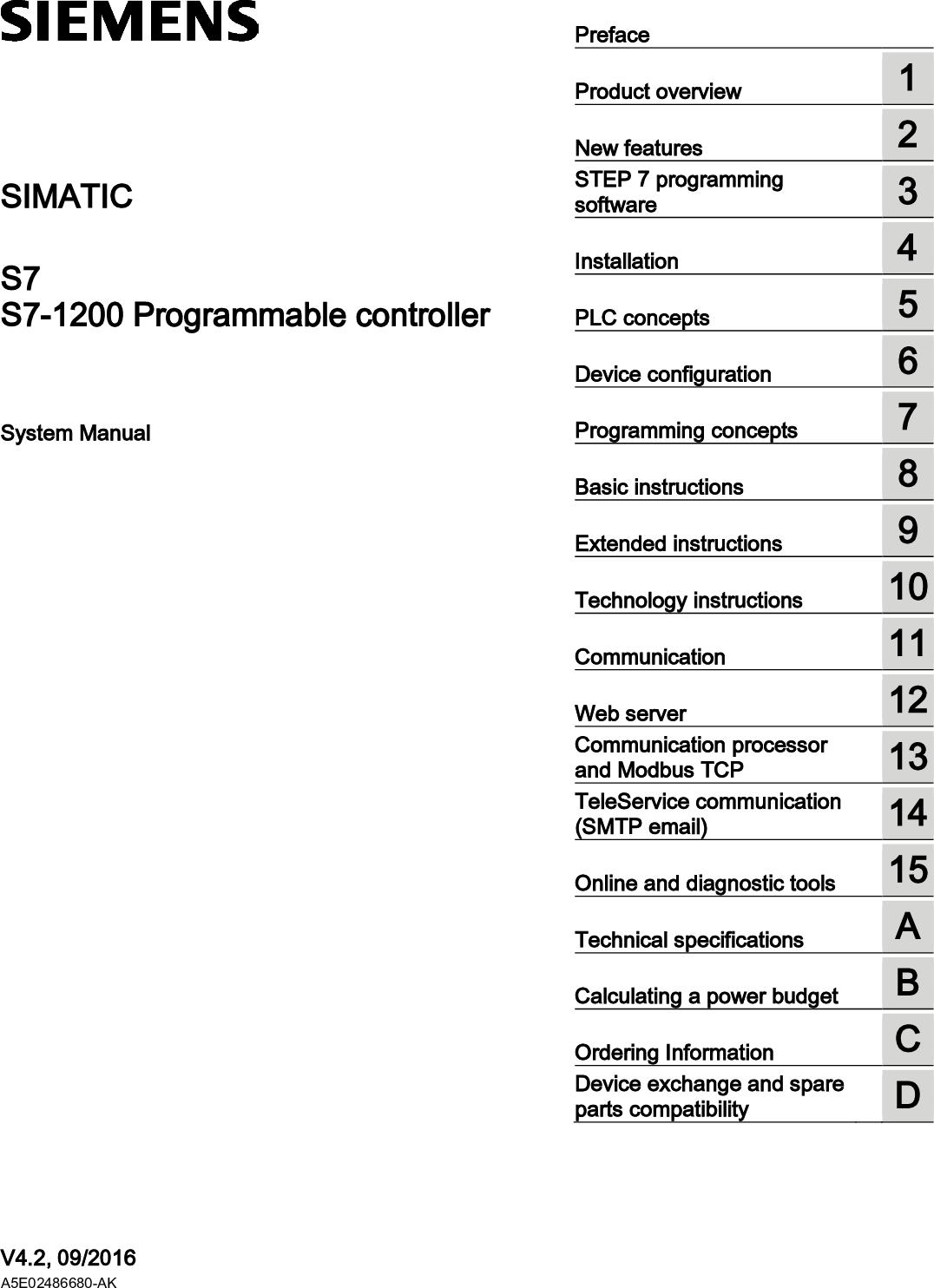 S7 1200 Programmable Controller S71200 System Manual En US