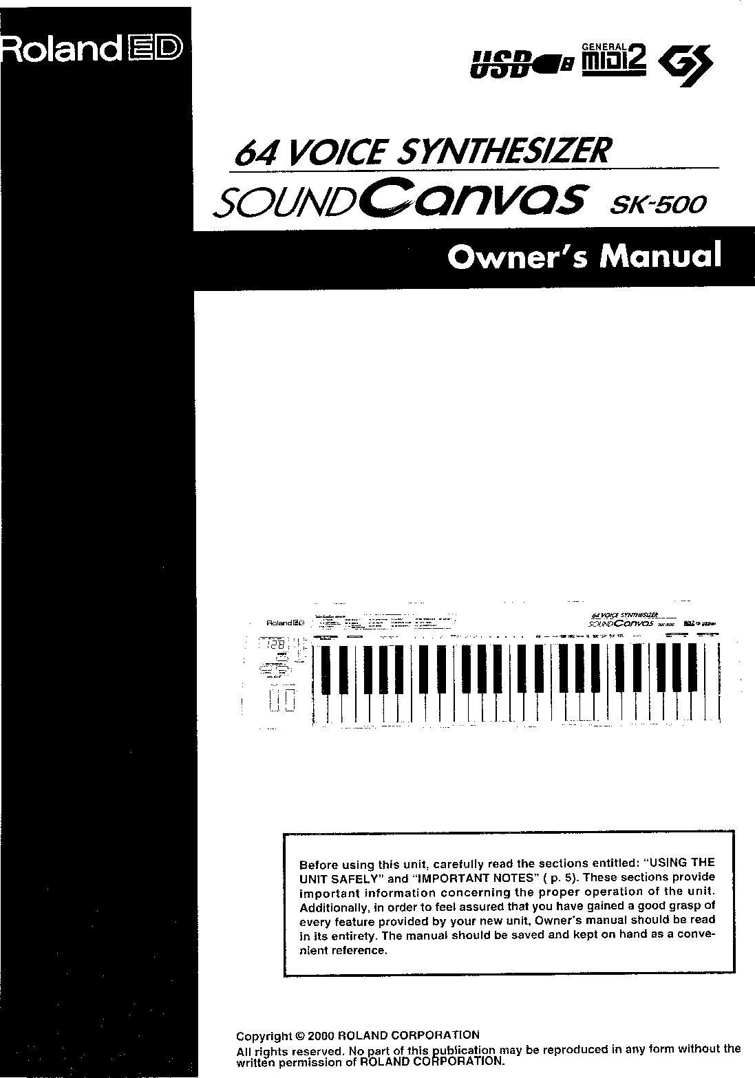 Roland Corporation SK 500 Owner's Manual Om