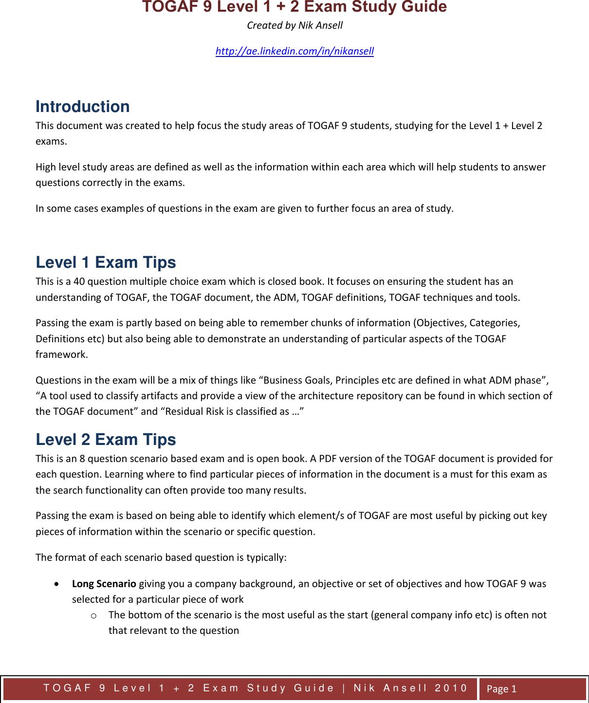 Togaf 9 Foundation Exam Study Guide Pdf