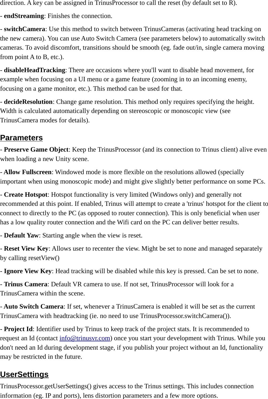 Trinus Unity Instructions