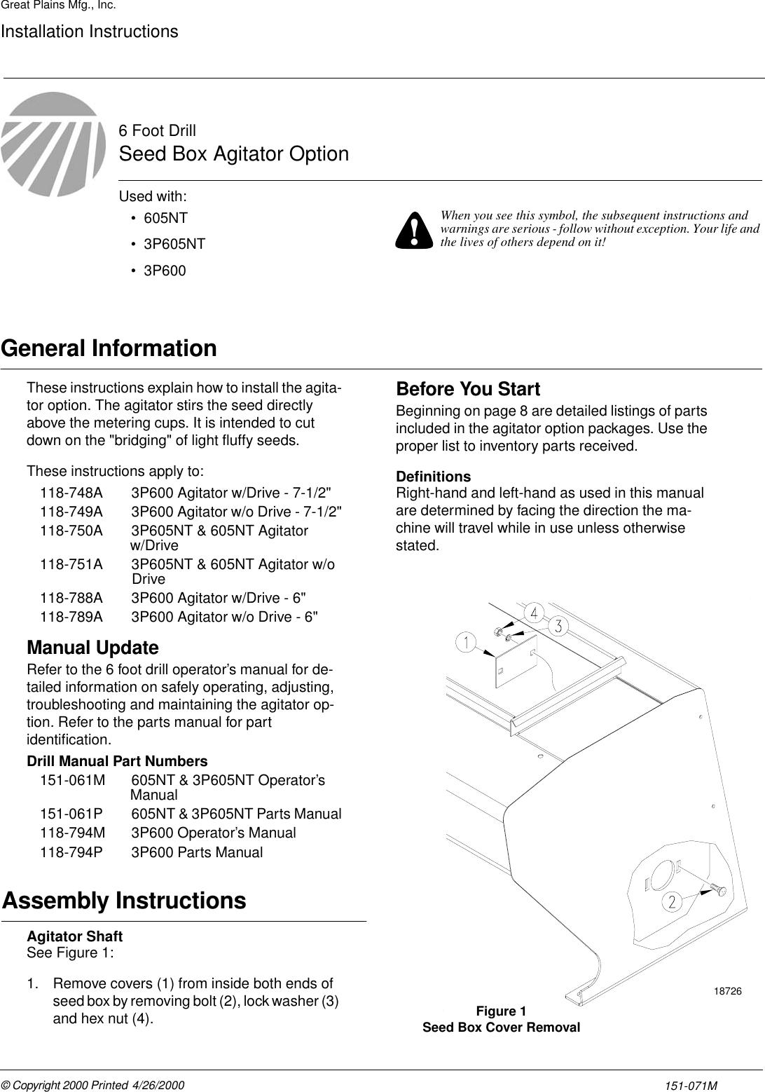 Peerless Industries Spreader 151 071M Users Manual