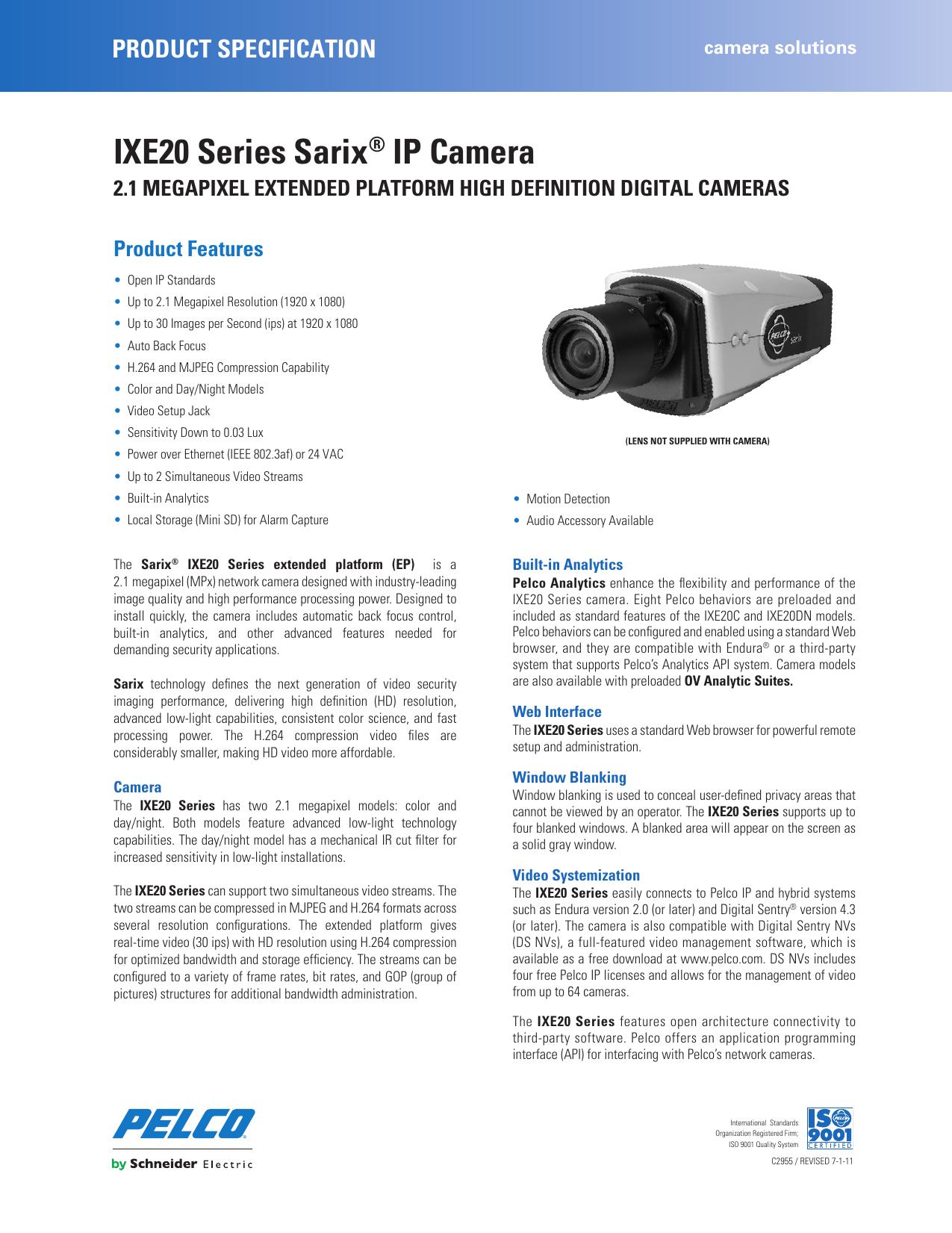 Pelco IXE20 IXE20_Series_Sarix_IP_Camera User Manual To The