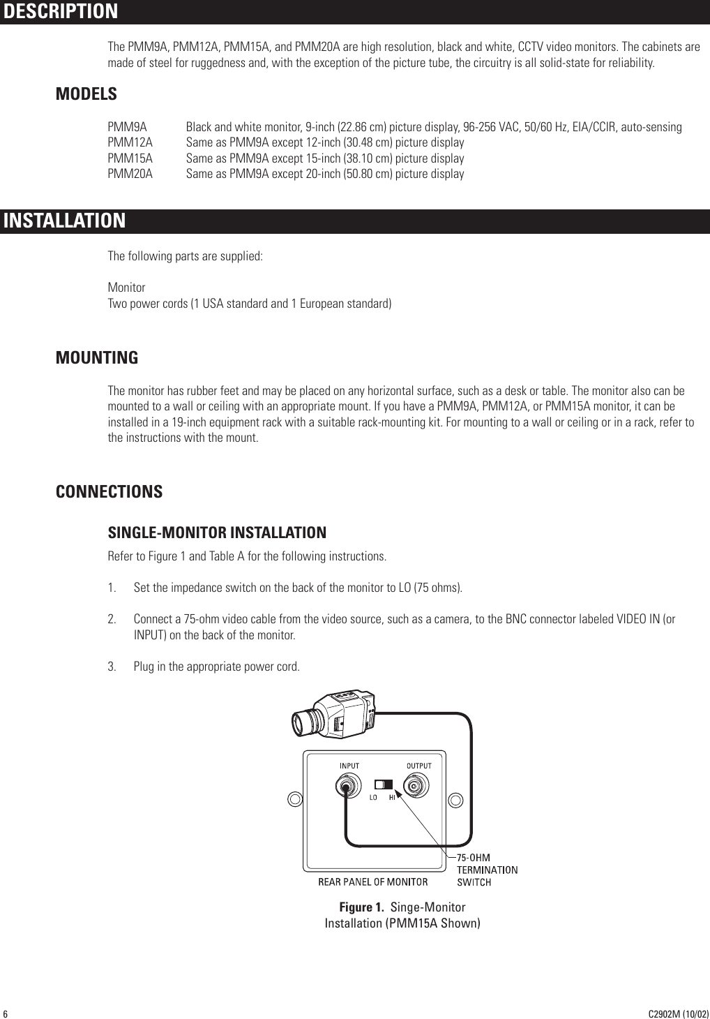 Pelco Computer Monitor Pmm12a Users Manual C2902m 10 02 Bnc Connector Wiring Diagram Page 6 Of 12