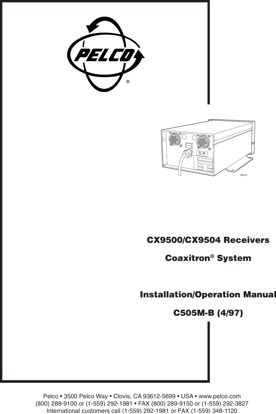 Pelco Home Security System C505m B Users Manual Cx9500 Cx9504 Rs485 Ptz Wiring Diagram Receivers Coaxitron