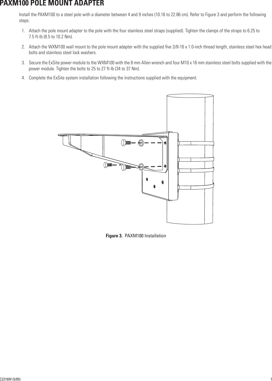 Pelco Home Security System Cmxm100 Users Manual C2216M ExSite Mount