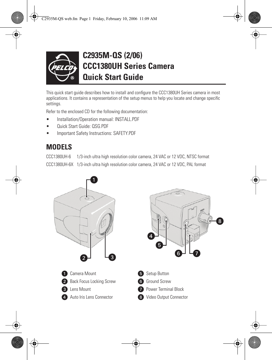 Pelco Security Camera Ccc1380uh 6x Users Manual Series Color Ultra Remote Start Wiring Diagram Guide