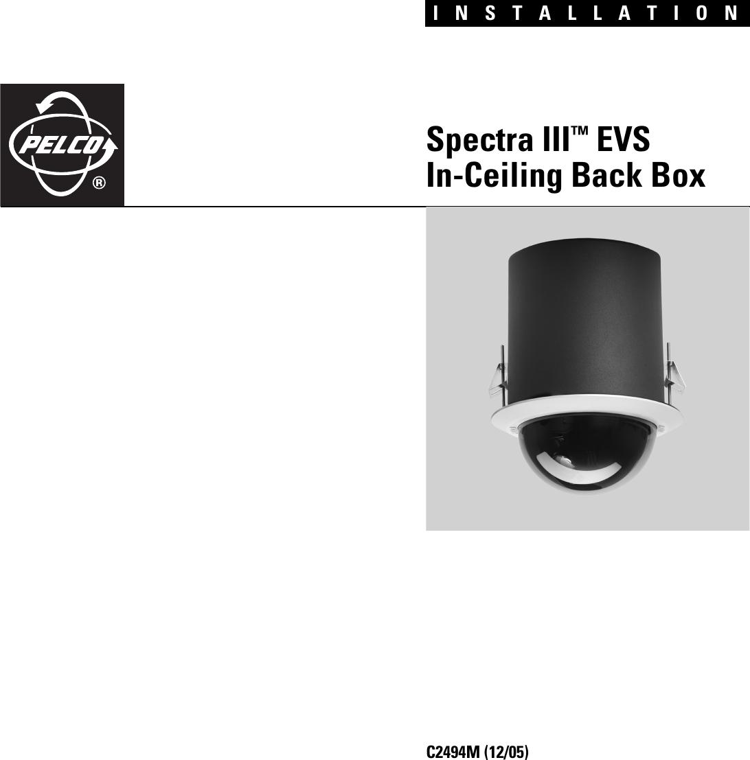 pelco spectra iii evs in ceiling back box c2494m users manual specta rh usermanual wiki Pelco Spectra III SE Manual pelco spectra 3 installation manual