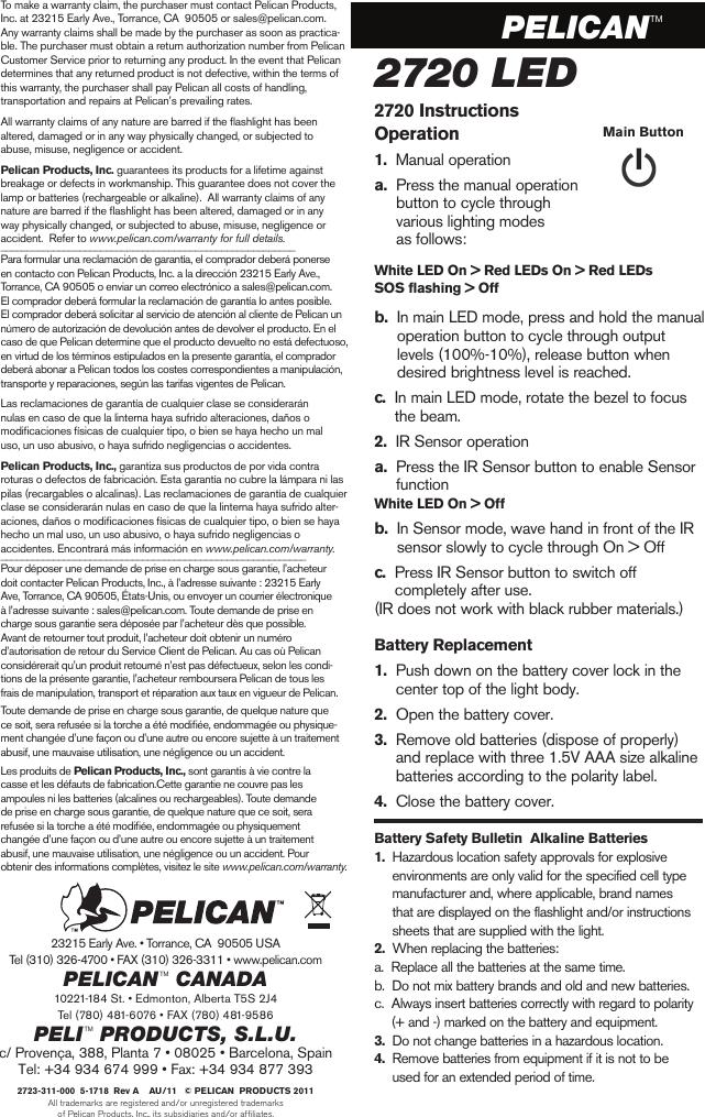 Pelican 2720 Users Manual