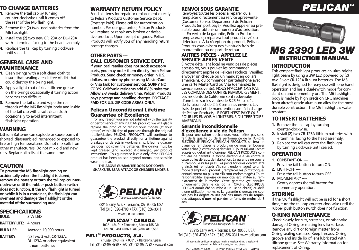 Pelican M6 2390 Led 3W Users Manual
