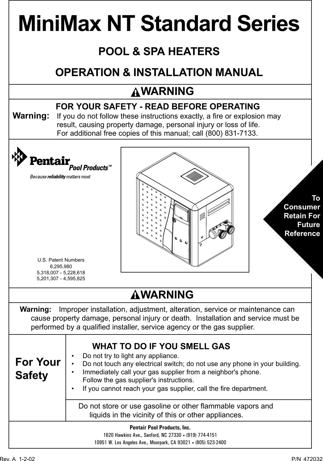 Pentair Minimax Nt Standard Series Users Manual 472032 Revap65 Spa Wiring Instructions