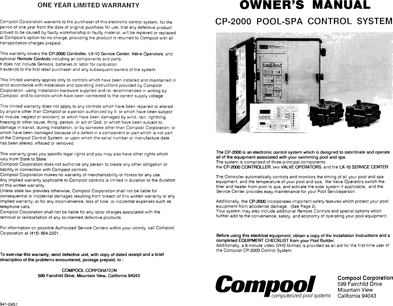 Pentair Pool Spa Control System Cp 2000 Users Manual Wiring Diagram Page 1 Of 8