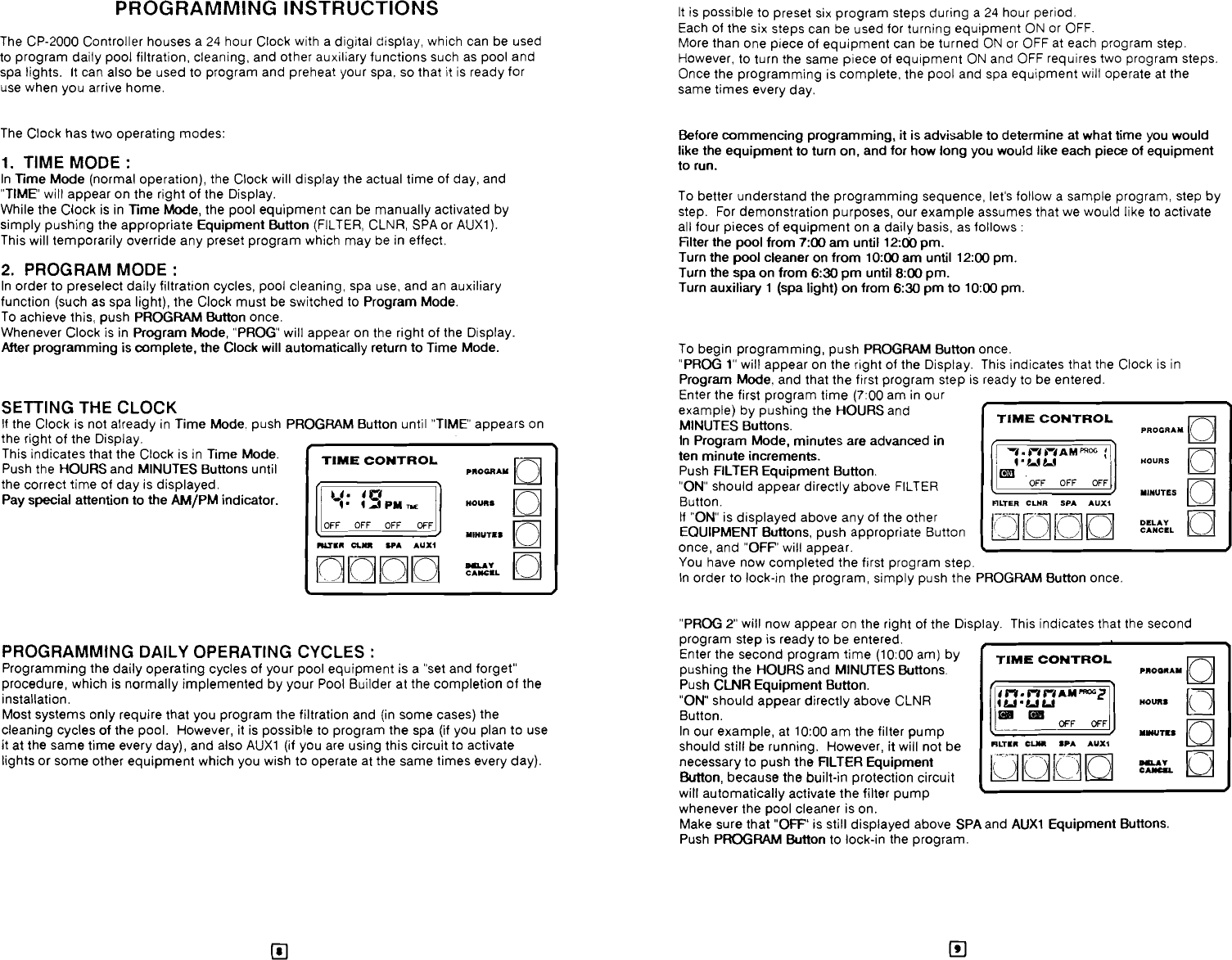 Pentair Pool Spa Control System Cp 2000 Users Manual Wiring Diagram Page 7 Of 8