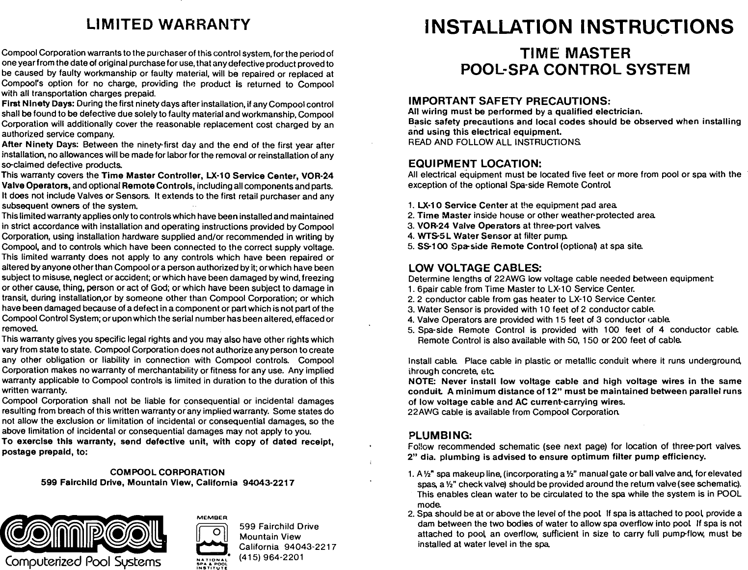 Pentair Pool Spa Control System Time Master Users Manual