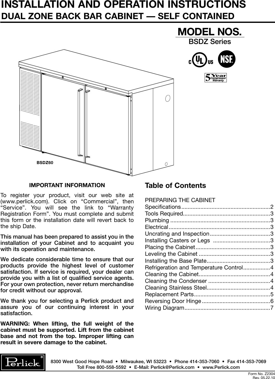 Perlick Back Bar Cabinet Bsdz Users Manual