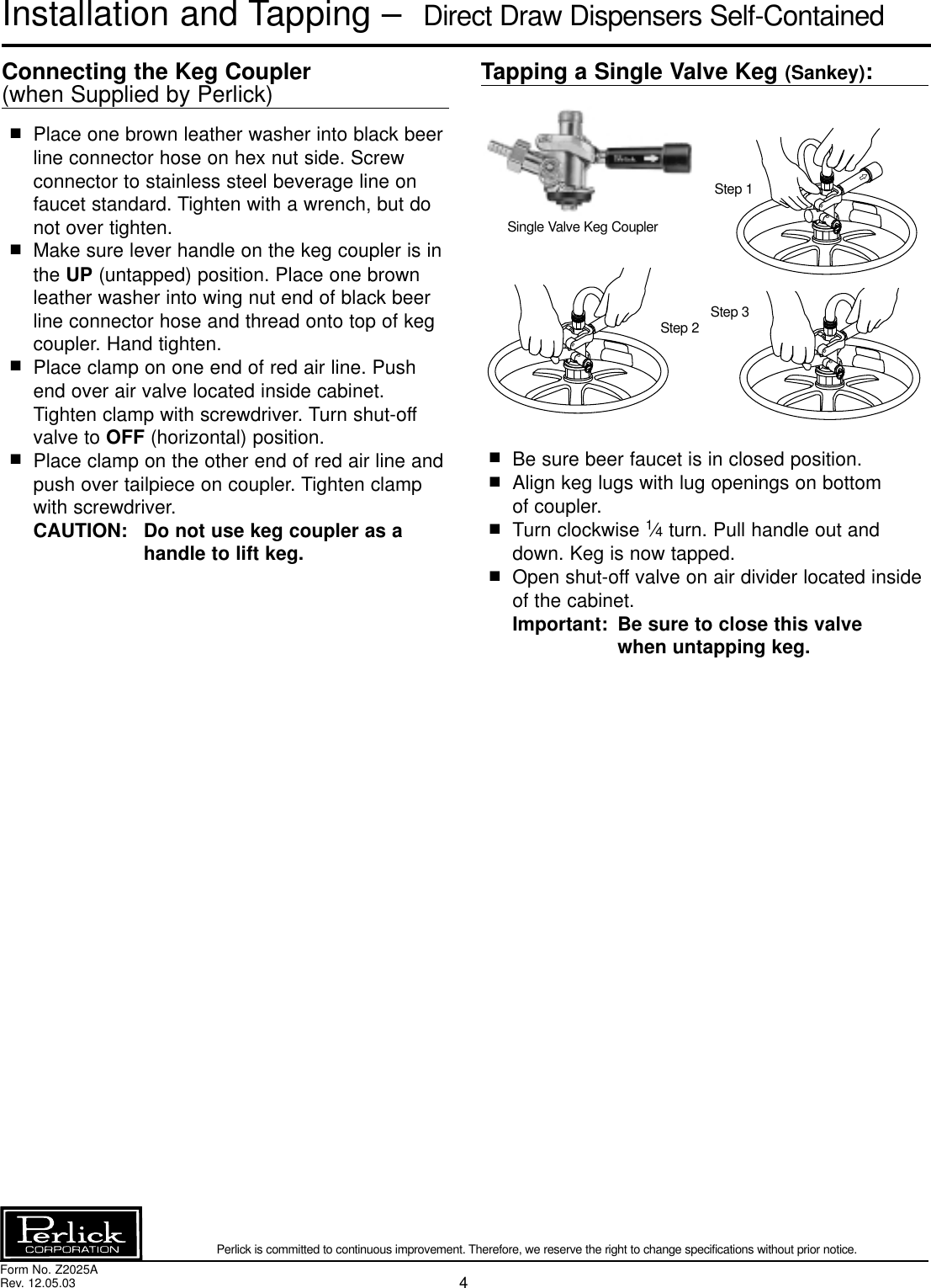 Perlick Ds Series Users Manual Wiring Diagram For Keg Beer Page 4 Of 12