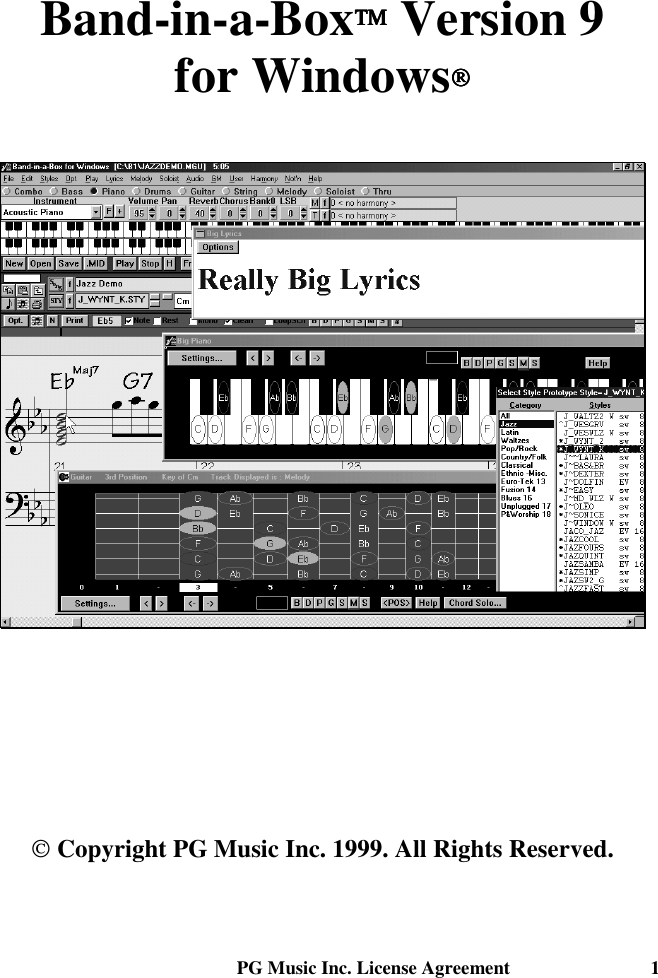 Pg Music Band In A Box 2009 Windows Upgrade Manual Version 9