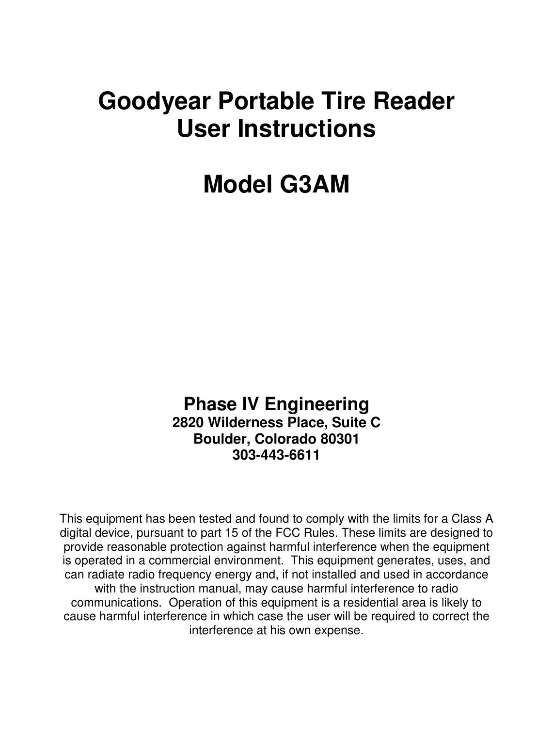 phase iv engineering g3am tire data monitoring system user manual rh usermanual wiki Instruction Manual Book Operators Manual