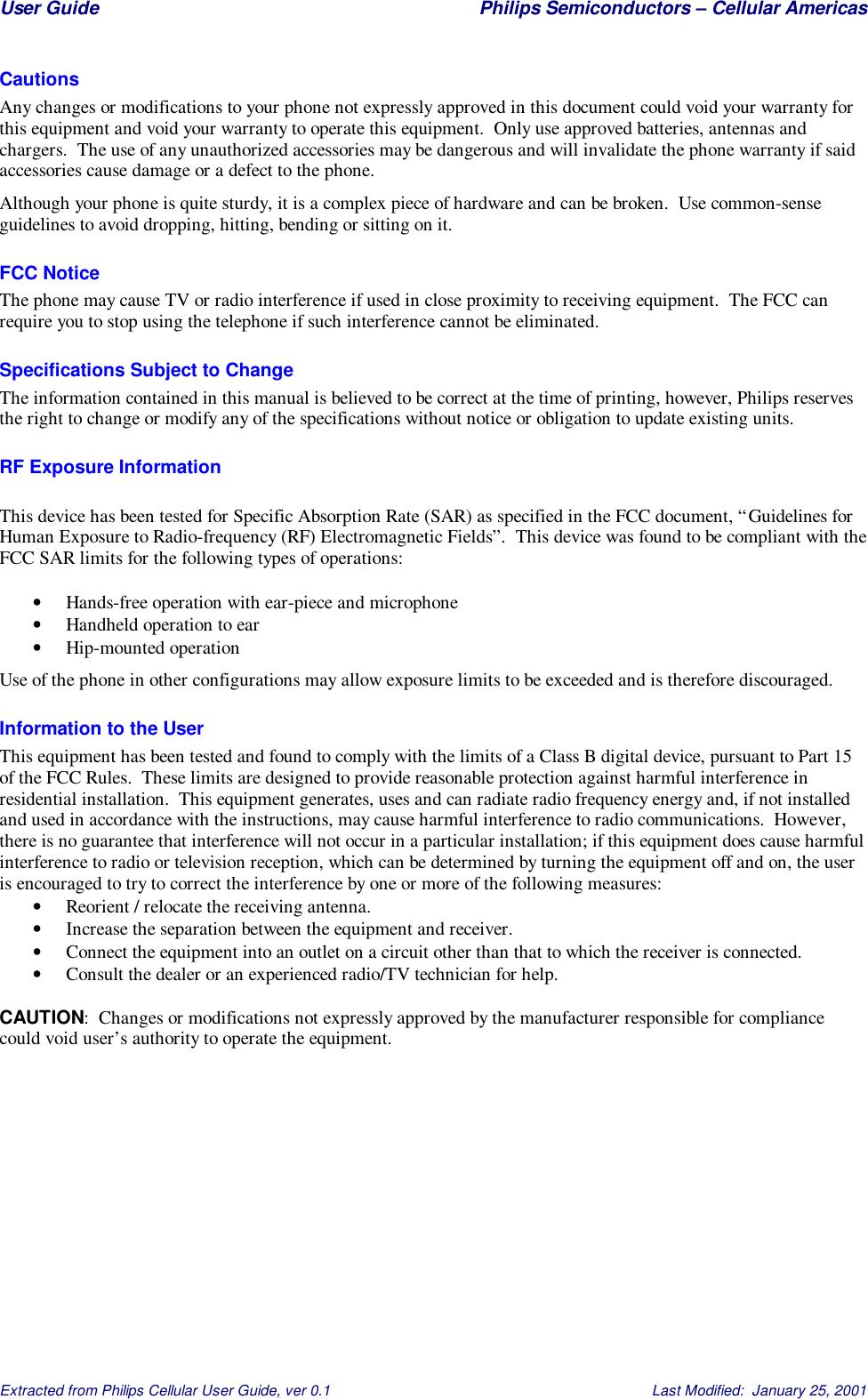 Philips Cellular Americas R and D HHP CDMA Handset User