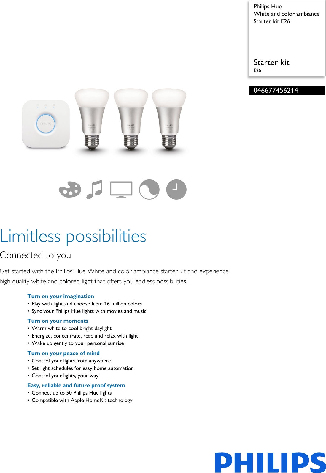 Philips 046677456214 White And Color Ambiance Starter Kit