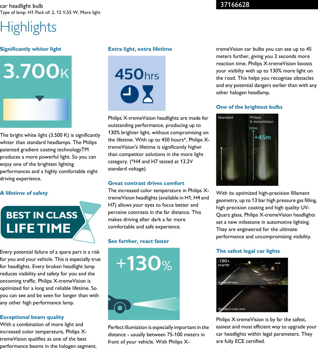 Philips 12258XV+S2 37166628 Car Headlight Bulb User Manual