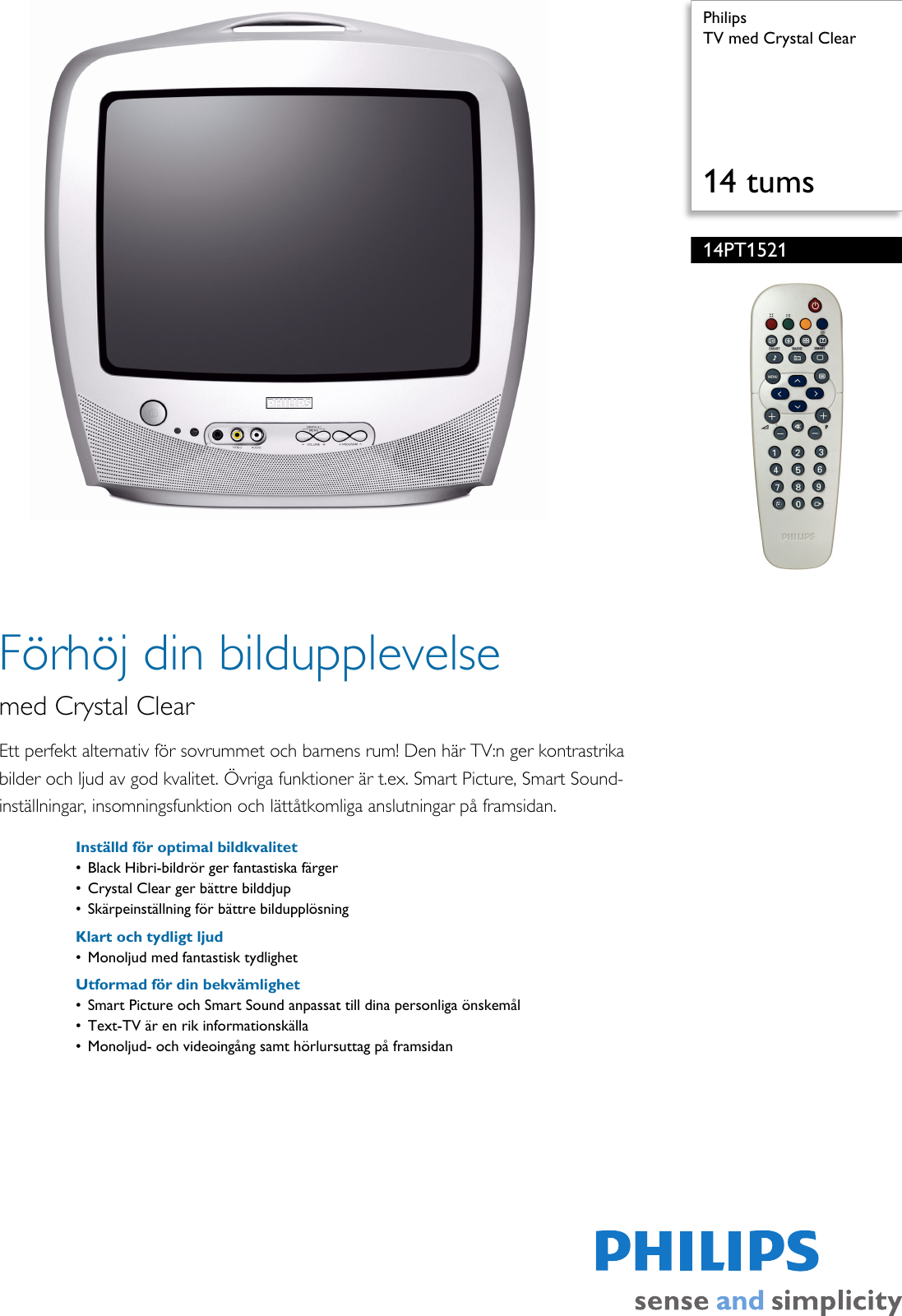 philips 14pt1521 12 tv med crystal clear 14pt1521 12 pss swese rh usermanual wiki Old Philips TV Model Numbers Philips Televisions Owner's Manual