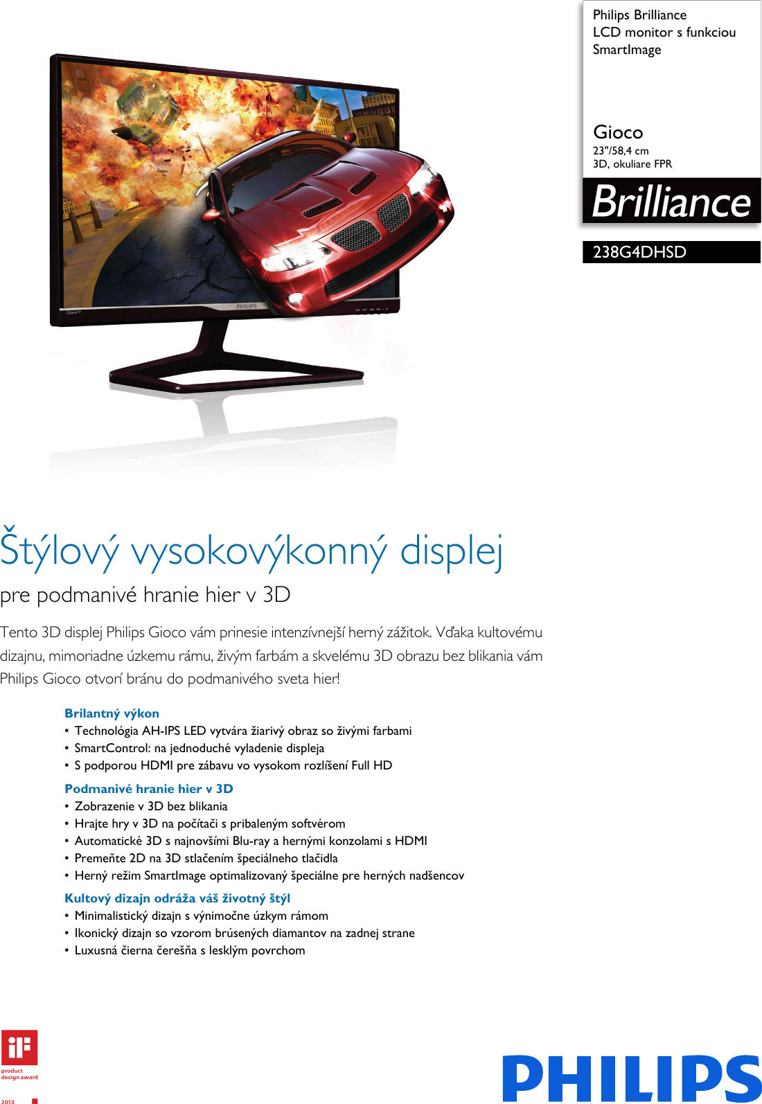 2e184b6fc Philips 238G4DHSD/00 Leaflet 238G4DHSD_00 Released Slovakia (Slovak) User  Manual Prospekt 238g4dhsd 00 Pss Slksk