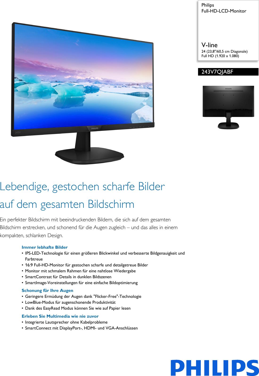 Philips 243V7QJABF/00 Leaflet 243V7QJABF_00 Released Germany (German ...