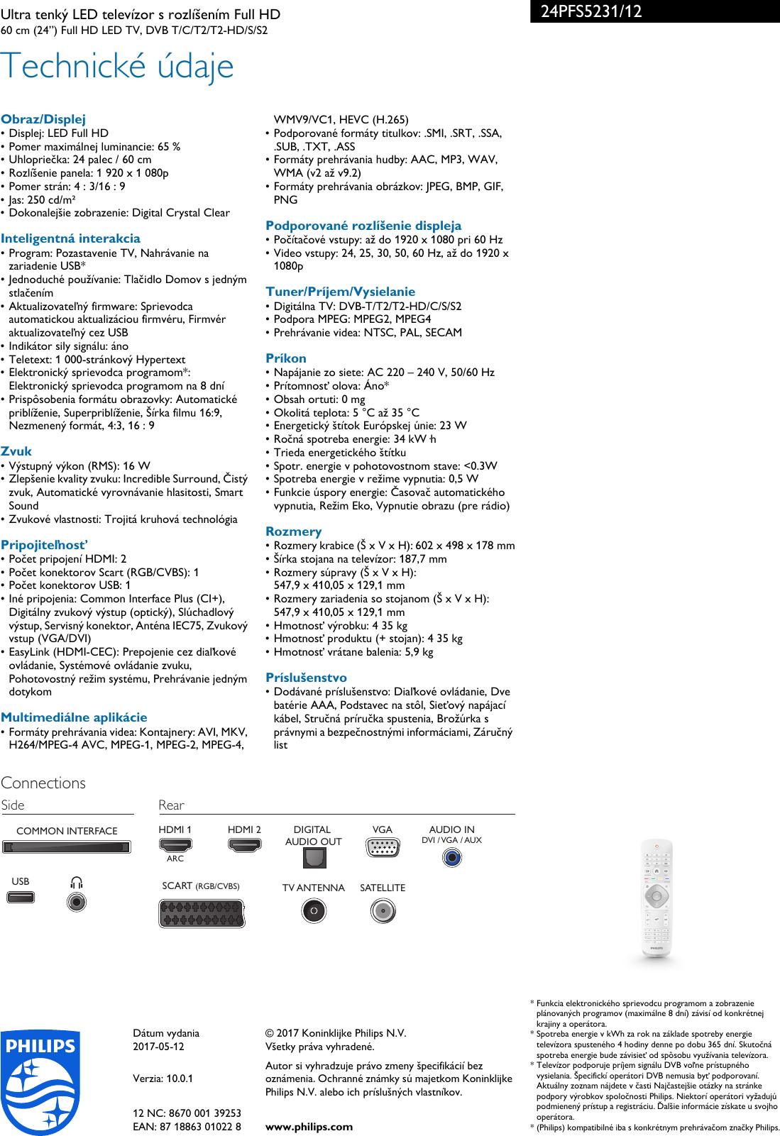 29cc3259a Page 3 of 3 - Philips 24PFS5231/12 Leaflet 24PFS5231_12 Released Slovakia  (Slovak)