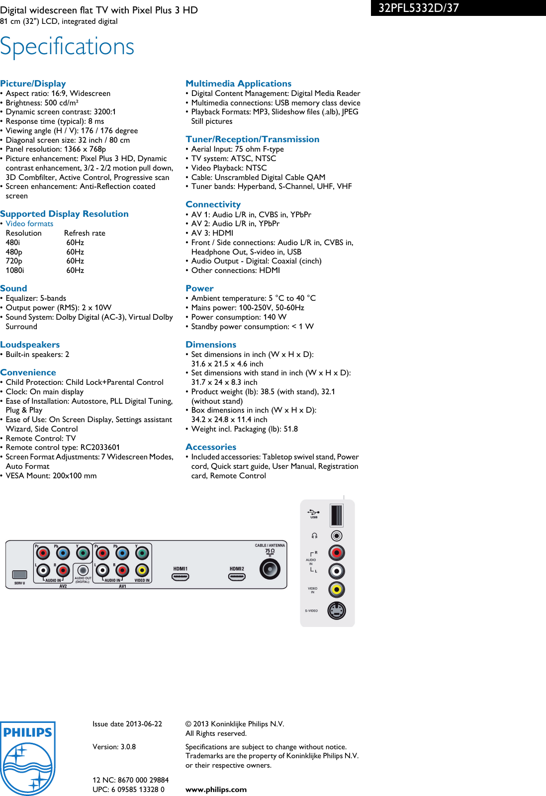 philips 32pfl5332d 37 digital widescreen flat tv with pixel plus 3 rh usermanual wiki TV Manual Packet Samsung Rear Projection TV Manual