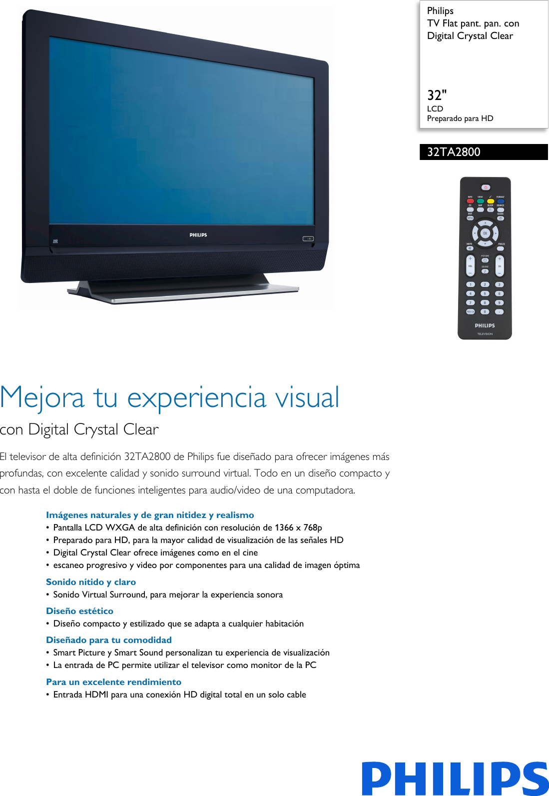 Philips 32TA2800/55 TV Flat Pant  Pan  Con Digital Crystal