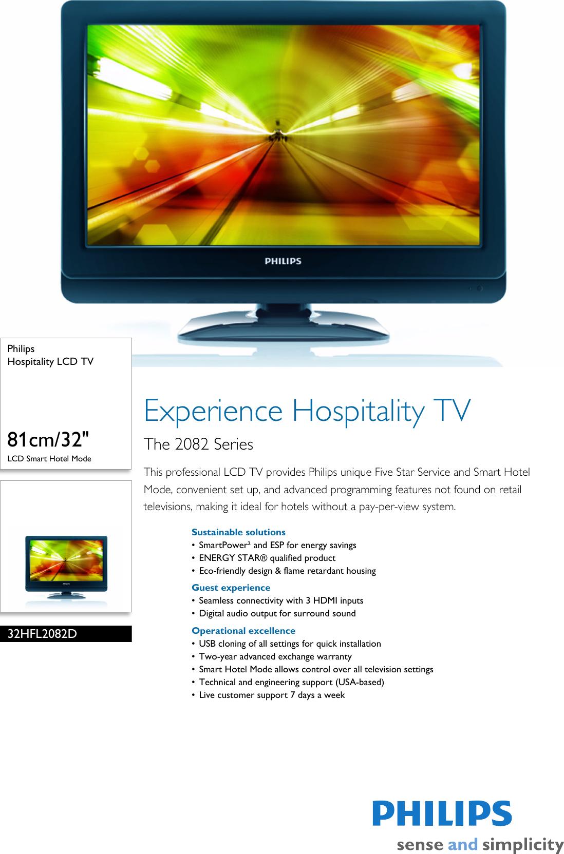 Philips 32HFL2082D/F7 Hospitality LCD TV Leaflet 32hfl2082d