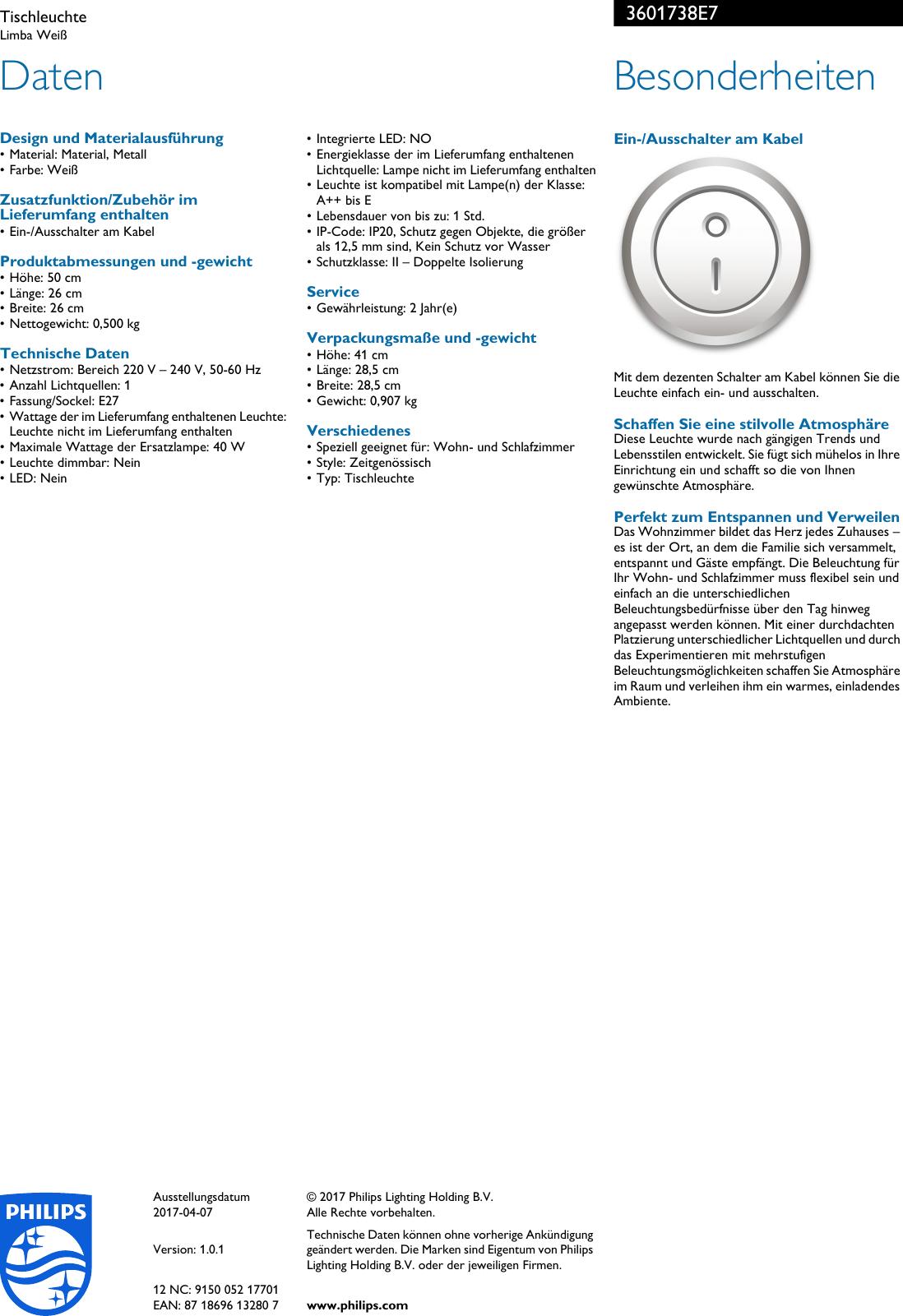 Philips 36017/38/E7 3601738E7 Tischleuchte User Manual Datenblatt