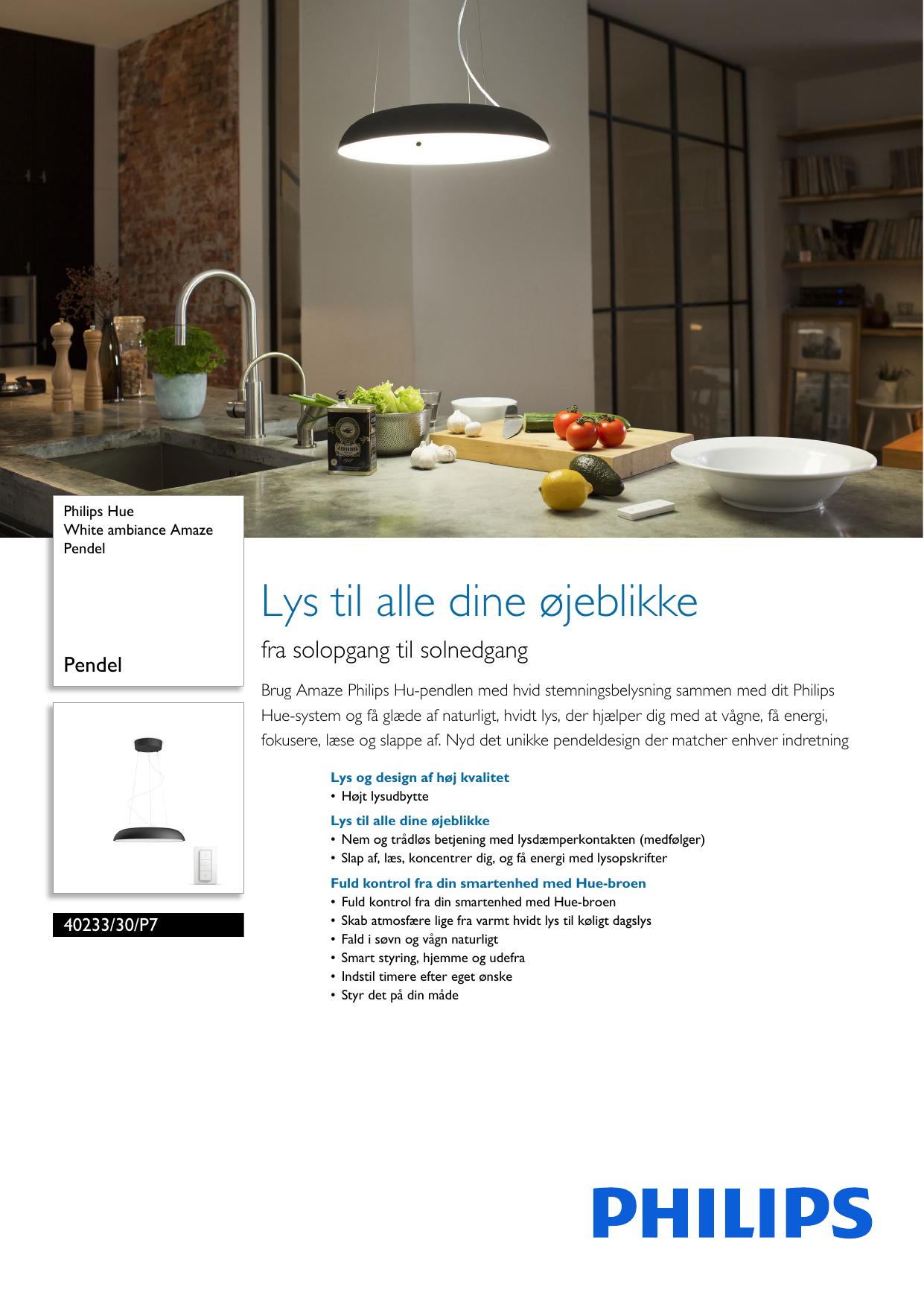 046adbe5ef2 Philips 40233/30/P7 4023330P7 White Ambiance Amaze Pendel User Manual Pss  Dandk