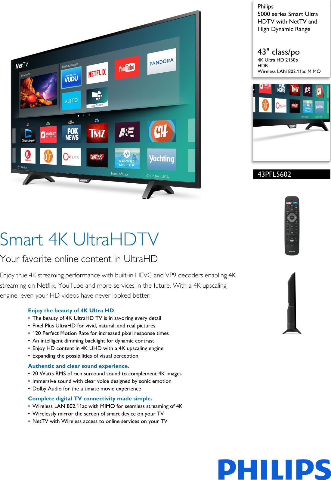 Philips 43PFL5602/F7 5000 Series Smart Ultra HDTV With NetTV